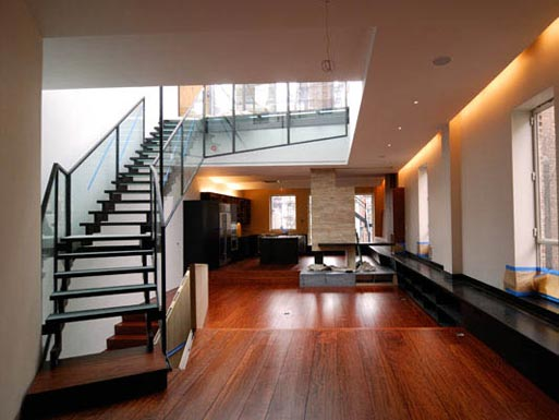 staircase and recessed lighting